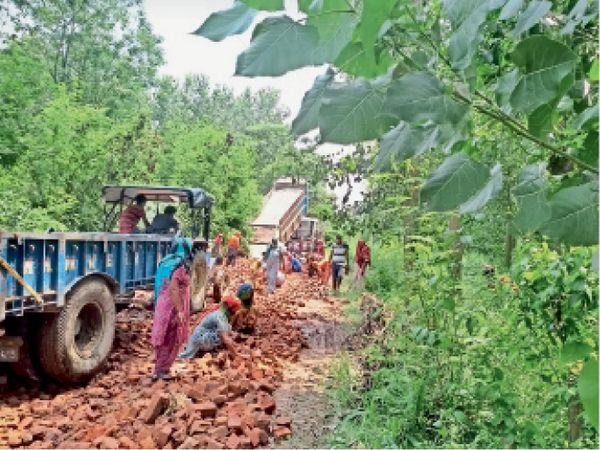 सड़क बनाने में लगे गांव के लोग - Dainik Bhaskar