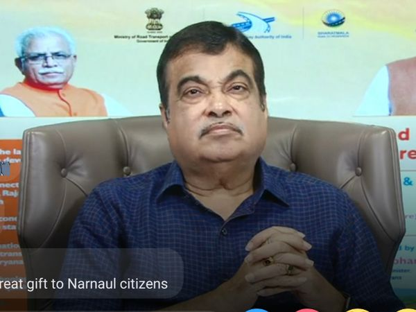 गुड़गांव   वीसी से प्रदेश में सड़कों का शिलान्यास करते केंद्रीय मंत्री। - Dainik Bhaskar