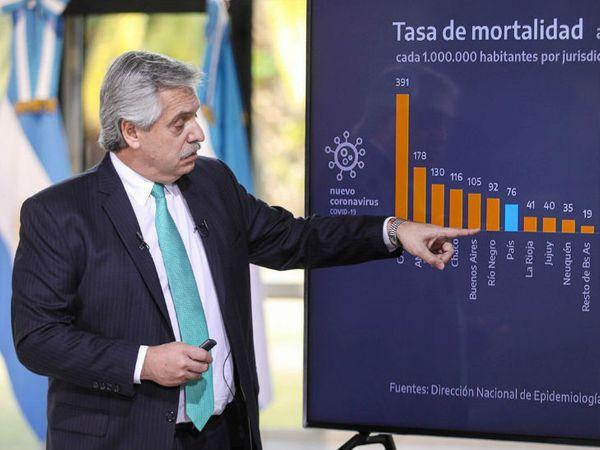 अर्जेंटीना के राष्ट्रपति अल्बर्टो फर्नांडीज शुक्रवार को देश में संक्रमण के आंकड़ों पर प्रेजेंटेशन देते हुए।