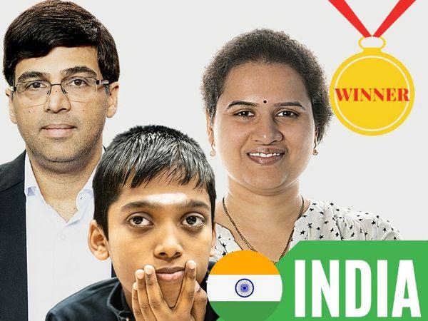 इंटरनेशनल चेस फेडरेशनल (फीडे) ने दोनों टीमों को बधाई देते हुए भारत के विश्वनाथन आनंद (बाएं), कोनेरू हंपी और आर प्रागनानांधा (बीच में) का फोटो शेयर किया। - Dainik Bhaskar
