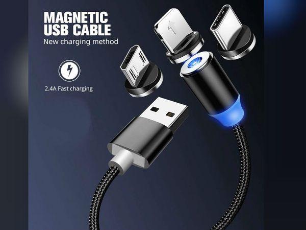 मैग्नेटिक चार्जिंग केबल का दूसरा कनेक्टर राउंड शेप का होता है, इसमें न सिर्फ मैग्नेट लगी बल्कि एलईडी भी मिलती है।