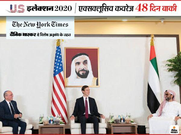 ट्रम्प के दामाद और एडवाइजर जैरेड कुशनर ने यूएई और इजराइल के बीच समझौता करवाने के लिए पिछले महीने अबू धाबी में दोनों देशों के नेताओं से मुलाकात की थी।- फाइल फोटो - Dainik Bhaskar