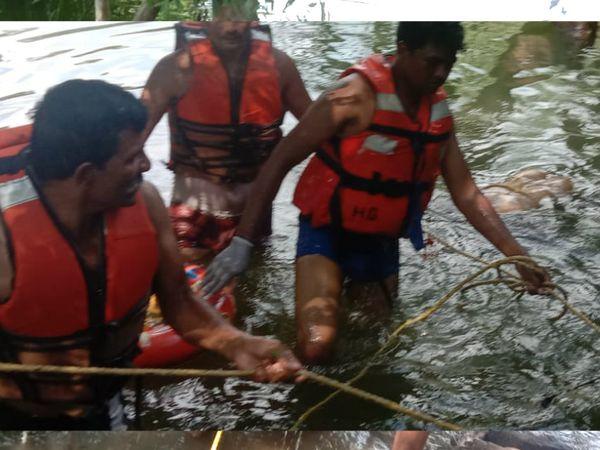 विदिशा के रेस्क्यू दल ने 16 घंटे की मशक्कत के बाद निकाला शव।
