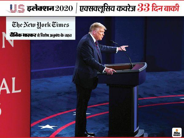 बुधवार को पहली प्रेसिडेंशियल डिबेट के दौरान डोनाल्ड ट्रम्प। अमेरिकी राष्ट्रपति ने डेमोक्रेट उम्मीदवार जो बाइडेन के नस्लवाद और टैक्स संबंधी आरोपों को सिरे से खारिज कर दिया - Dainik Bhaskar