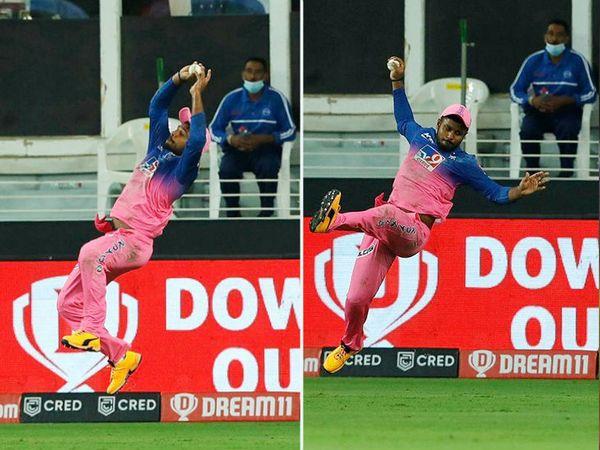राजस्थान रॉयल्स के संजू सैमसन ने पैट कमिंस का बाउंड्री पर शानदार कैच लिया।