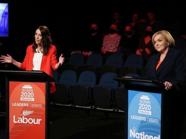 न्यूजीलैंड में 17 अक्टूबर को प्रधानमंत्री चुनाव होने वाले हैं। लेबर पार्टी की उम्मीदवार जसिंडा आर्डन और नेशनल पार्टी की उम्मीदवार जूडिथ कोलिंस के बीच हुई बहस की तस्वीर।