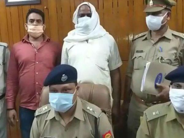 लखनऊ पुलिस की गिरफ्त में हत्यारोपी पुजारी। - Dainik Bhaskar