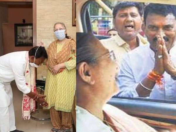 सुबह नामांकन दाखिल करने के पहले ताई से आशीर्वाद लेने उनके घर पहुंचे। - Dainik Bhaskar