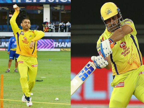 चेन्नई सुपर किंग्स के कप्तान और विकेटकीपर महेंद्र सिंह धोनी ने सनराइजर्स हैदराबाद के खिलाफ मैच से पहले नेट में बॉलिंग की प्रैक्टिस की और सबसे लंबा छक्का भी लगाया। - Dainik Bhaskar