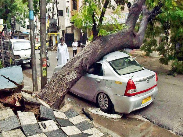 हैदराबाद के नूर खान बाजार इलाके में एक पेड़ कार के ऊपर गिर गया।