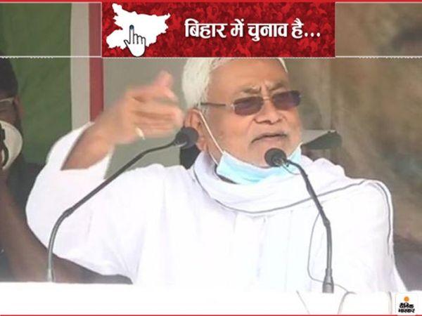 नीतीश कुमार ने बुधवार को बांका जिले के अमरपुर विधानसभा क्षेत्र में चुनावी रैली को संबोधित किया। - Dainik Bhaskar
