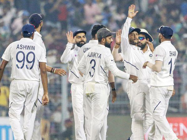 भारत ने अपना पहला डे-नाइट टेस्ट मैच 2019 में बांग्लादेश के खिलाफ खेला था। भारत ने बांग्लादेश को पारी और 46 रन से हराया था। - Dainik Bhaskar