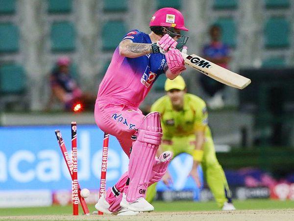 राजस्थान के बेन स्टोक्स ने शुरुआत अच्छी की, लेकिन 19 रन बनाकर दीपक चाहर की बॉल पर बोल्ड हुए।