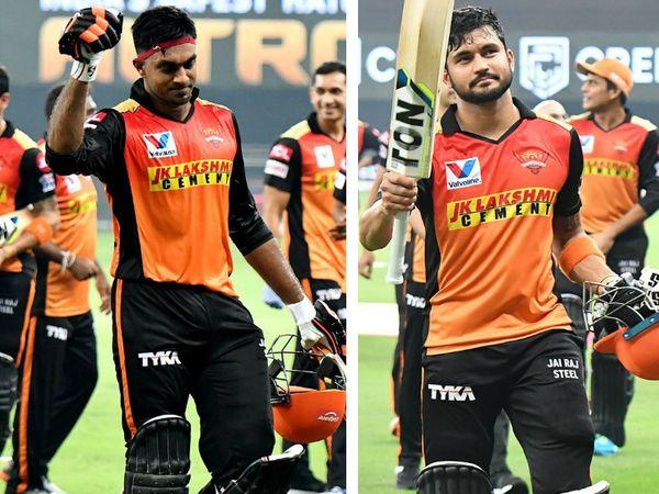 सनराइजर्स हैदराबाद के विजय शंकर ने 6 चौकों की मदद से नाबाद 52 रन बनाए। वहीं, मनीष पांडे ने 8 छक्के और 4 चौकों की मदद से नाबाद 83 रन की पारी खेली। - Dainik Bhaskar