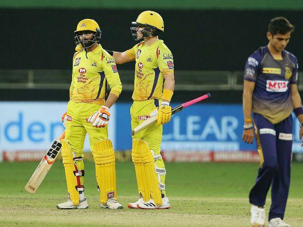 चेन्नई सुपर किंग्स के रविंद्र जडेजा ने 11 बॉल पर नाबाद 31 रन की मैच जिताऊ पारी खेली। - Dainik Bhaskar