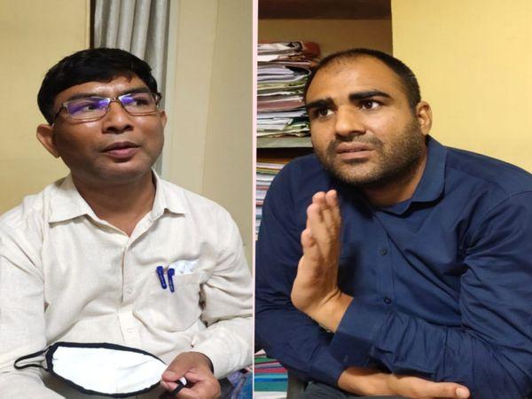 जीएसटी का नोटिस फाइल करने की एवज में 40 हजार रुपए की रिश्वत लेते गिरफ्तार आरोपीसुपरिटेंडेंट रामस्वरुप व इंस्पेक्टर सुनील। एसीबी टीम ने जयपुर में कार्रवाई की - Dainik Bhaskar