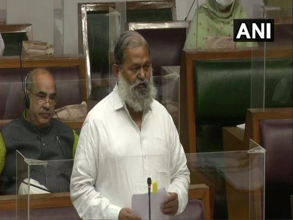 सदन में निकिता हत्याकांड मामले में जवाब रखते गृह मंत्री अनिल विज - Dainik Bhaskar