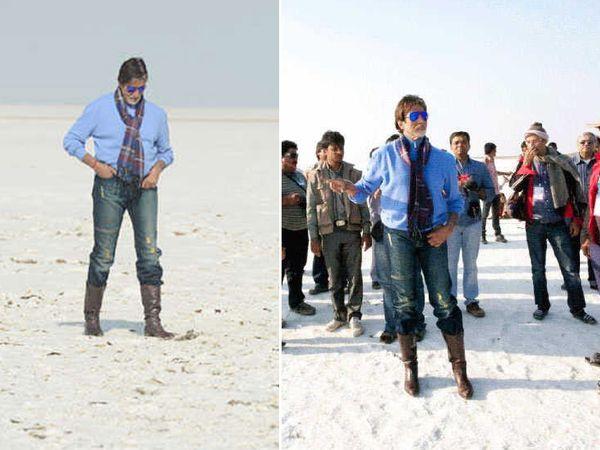 'खुश्बू गुजरात की' एड के लिए कच्छ में शूटिंग के दौरान अमिताभ बच्चन। -फाइल फोटो। - Dainik Bhaskar