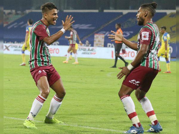 67वें मिनट में मोहन बगान के रॉय कृष्णा ने न सिर्फ सीजन का पहला गोल किया, बल्कि अपनी टीम के लिए विजयी गोल भी किया। - Dainik Bhaskar