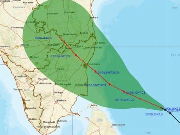 ये मैप सोमवार को मौसम विभाग ने जारी किया। इसके जरिए तूफान की दिशा दिखाई गई है।
