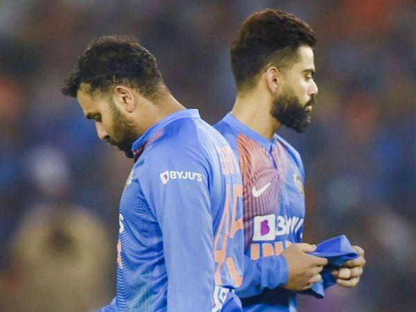 एक मैच के दौरान भारतीय टीम के ओपनर रोहित शर्मा और कप्तान विराट कोहली। -फाइल फोटो - Dainik Bhaskar