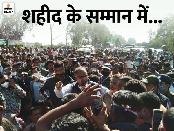 चक्काजाम के दौरान लोगों को समझाइश देते विधायक यशपालसिंह सिसौदिया। - Dainik Bhaskar