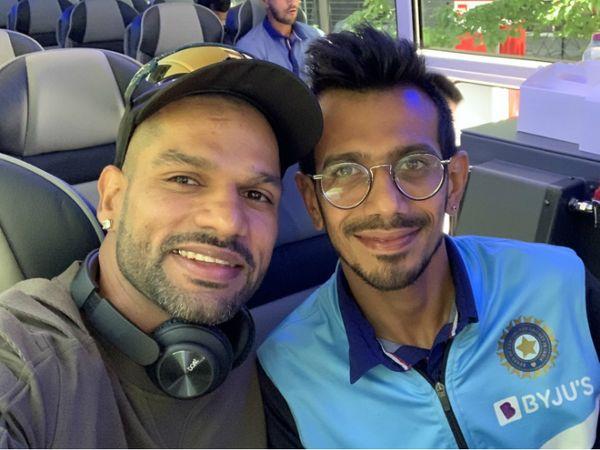 टीम इंडिया के स्पिनर युजवेंद्र चहल ने शनिवार को सोशल मीडिया पर यह फोटो शेयर कर शिखर धवन को जन्मदिन की बधाई दी। - Dainik Bhaskar