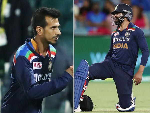 ऑस्ट्रेलिया के खिलाफ पहले टी-20 में चोटिल ऑलराउंडर रविंद्र जडेजा की जगह स्पिनर युजवेंद्र चहल कन्कशन सब्सटिट्यूट के तौर पर शामिल किए गए थे। - Dainik Bhaskar