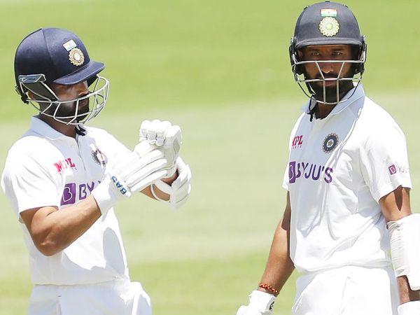 चेतेश्वर पुजारा और अजिंक्य रहाणे ने चौथे विकेट के लिए 76 रन की पार्टनरशिप की। - Dainik Bhaskar