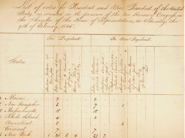 यह फोटो 1824 में हुई इलेक्टोरल कॉलेज वोटिंग के नतीजों की है। तब तक नतीजे हाथ से लिखकर जारी किए जाते थे।