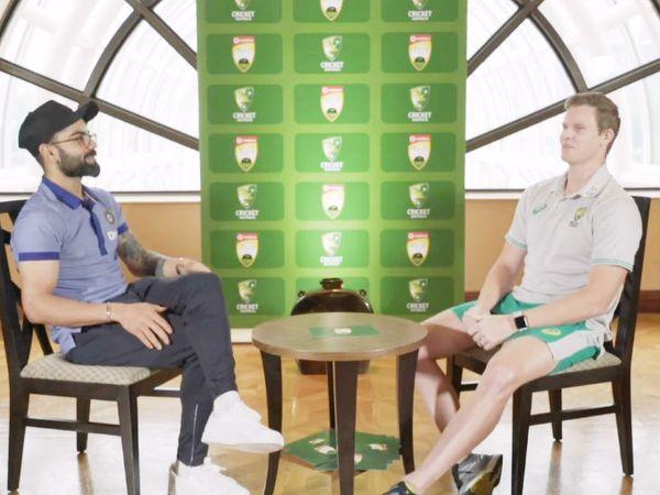 विराट कोहली और स्टीव स्मिथ ने बुधवार को टेस्ट सीरीज की लॉन्चिंग की। इस दौरान इन दोनों ने एक-दूसरे से सवाल-जवाब भी किए। - Dainik Bhaskar