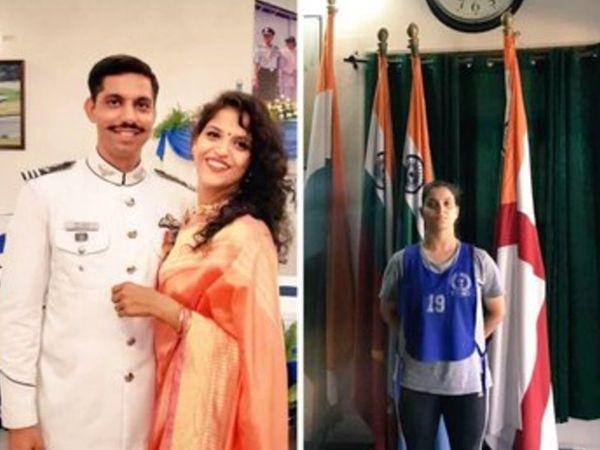 पति समीर अबरोल के साथ गरिमा। समीर पिछले साल शहीद हो गए थे। (फाइल फोटो) - Dainik Bhaskar