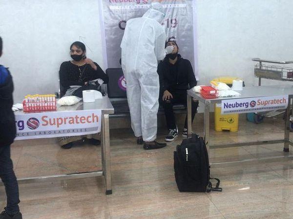 एयरपोर्ट पर यात्रियों RT-PCR टेस्ट की व्यवस्था की गई है।