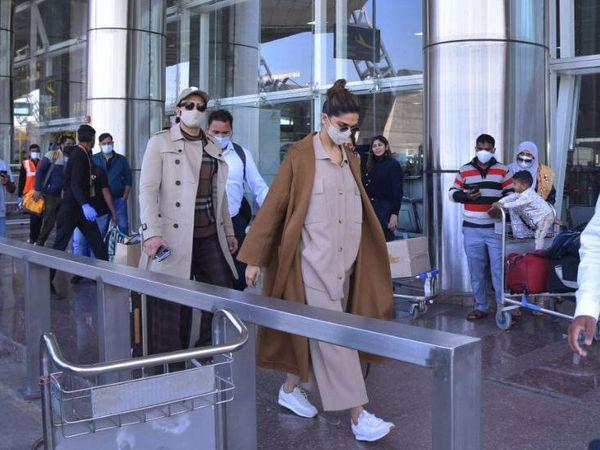 जयपुर एयरपोर्ट पर दीपिका और रणवीर सिंह।