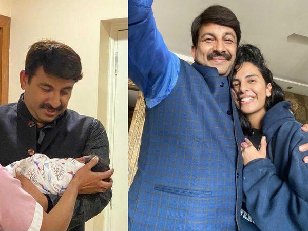 मनोज तिवारी की बड़ी बेटी जिया मुंबई में ही रहती हैं, जिनसे मिलने वे अक्सर आते-जाते रहते हैं। - Dainik Bhaskar