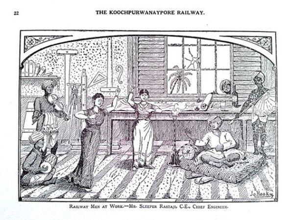 1910 में गुमनाम तरीके से प्रकाशित स्केच बुक का 22वां पन्ना- रेलवे कर्मी काम पर हैं।