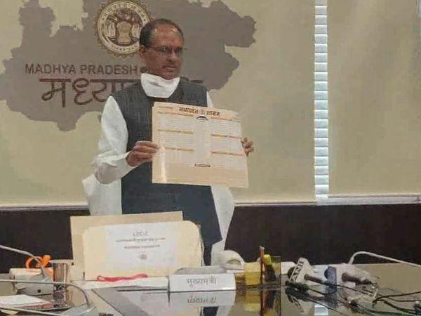 नए साल में मुख्यमंत्री शिवराज सिंह चौहान मंत्रियों व सीनियर अफसरों के साथ बैठक की। इस दौरान मुख्यमंत्री ने शासन की वर्ष 2021 की डिजिटल डायरी और डिजिटल कैलेंडर का विमोचन किया। - Dainik Bhaskar