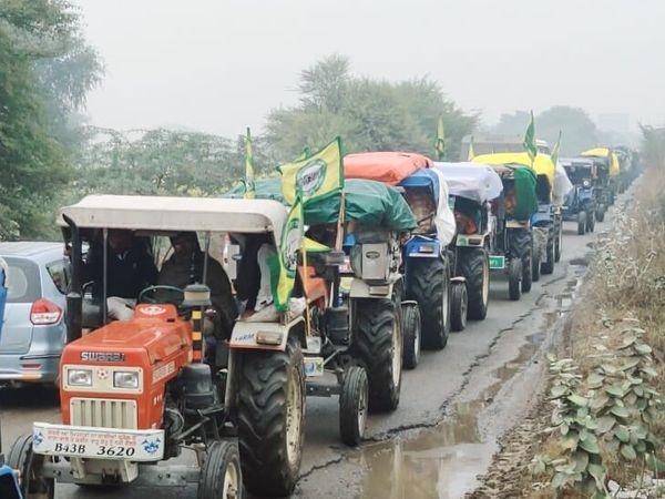 रविवार को करीब दो सौ ट्रैक्टरों के जरिए किसान बॉर्डर पर आए।