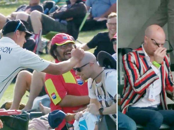 न्यूजीलैंड के काइल जेमीसन (बाएं) टेस्ट के पहले दिन फैन को ऑटोग्राफ देते हुए। तीसरे दिन भी सिग्नेचर के साथ नजर आया फैन। - Dainik Bhaskar
