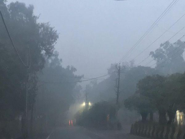 जालंधर में बुधवार की सुबह छाई धुंध। - Dainik Bhaskar