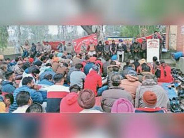 बिजलीघर में मांगों को लेकर पंजाब यूटी व पेंशनर्स संयुक्त फ्रंट के पदाधिकारी व सदस्य धरना देते हुए। - Dainik Bhaskar