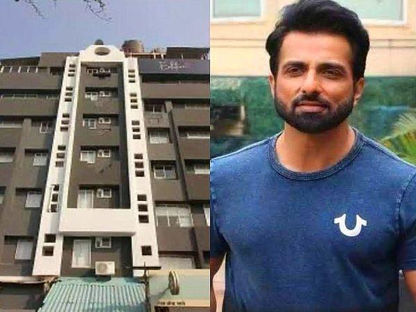 शक्ति सागर बिल्डिंग (बाएं), जिसे होटल में तब्दील करने का आरोप एक्टर साेनू सूद पर लगाया गया है। - Dainik Bhaskar