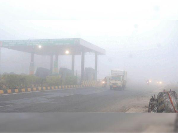 महू-इंदाैर एबी राेड पर अलसुबह इतना काेहरा छाया हुआ था कि 20 मीटर दूर भी वाहन ठीक से नजर नहीं आ रहे थे। शहर में भी ऐसी स्थिति रही। - Dainik Bhaskar