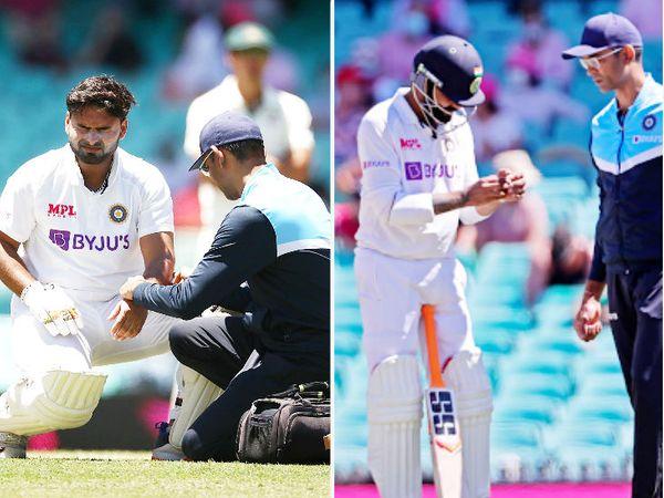टीम इंडिया की बैटिंग के दौरान पंत के बाएं कोहनी और जडेजा के बाएं अंगूठे पर चोट लगी।
