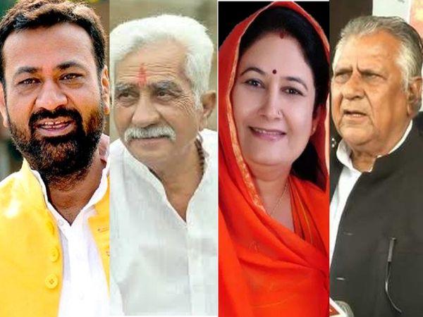 बाएं से दाएं दिवंगत विधायक गजेंद्र सिंह शक्तावत, सहाड़ा से कांग्रेस विधायक कैलाश त्रिवेदी, राजसमंद से भाजपा विधायक किरण माहेश्वरी और सुजानगढ़ से कांग्रेस विधायक और सामाजिक न्याय व अधिकारिता मंत्री मास्टर भंवरलाल। (फाइल फोटो) - Dainik Bhaskar