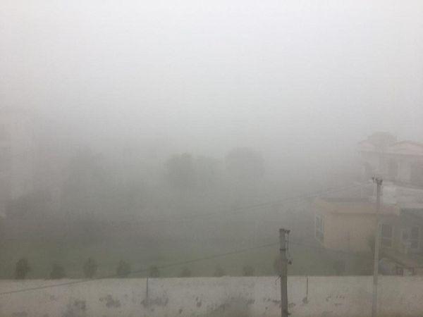 पानीपत में शुक्रवार की सुबह फिर घने कोहरेकी चादर ओढ़कर आई। - Dainik Bhaskar