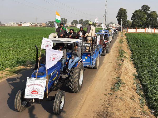 जालंधर में मंगलवार को ट्रैक्टर मार्च निकालते किसान। - Dainik Bhaskar