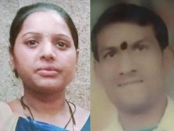 महिला छाया पिछले माह 24 दिसंबर से लापता थी। 30 दिसंबर को उसकी गुमशुदगी भी दर्ज की गई। दूसरी तस्वीर में युवक संतोष भी परिवार समेत फरार है। - Dainik Bhaskar