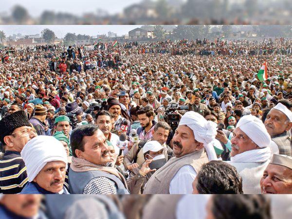 मुजफ्फरनगर की महापंचायत में बड़ी संख्या में जुटे किसान - Dainik Bhaskar