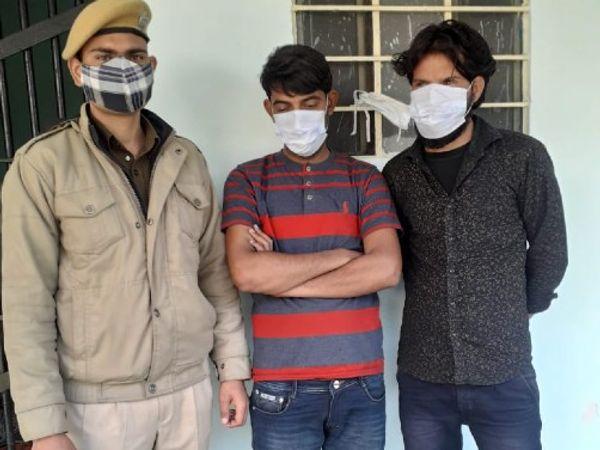 जयपुर की सांगानेर सदर थाना पुलिस ने डम्पर चुराने के मामले में पकड़े दो आरोपी। - Dainik Bhaskar